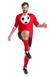 Footballer cut out on white Royalty Free Stock Photo