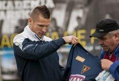 Footballer de Marcin Robak de Pogon Szczecin Pologne Photographie stock libre de droits