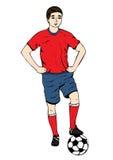 Footballer, dessin de main de vecteur Joueur de football dans un uniforme bleu rouge avec une boule D'isolement sur le fond blanc Photo libre de droits