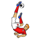 Footballer doing bicycle kick Royalty Free Stock Photo