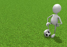 Footballer. Football Stick Figure Standing With Ball on Green Grass Royalty Free Stock Photography