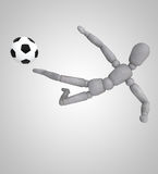A footballer play on white background Stock Image