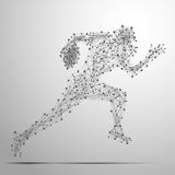 Footballer poly gray. Abstract football player in motion with cybernetic particles. Vector mesh spheres from flying debris. Footballer running polygonal thin Stock Photography