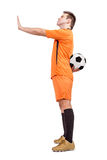 Footballer refused to give the ball Royalty Free Stock Photography