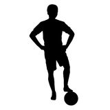 Footballer silhouette. Black football player outline with a ball, isolated on white background Stock Images