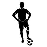 Footballer silhouette. Black football player outline with a ball, isolated on white background. Vector illustration Stock Photography