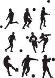 Footballer silhouette set Stock Photo
