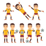 Footballer, soccer player, goalkeeper in different gaming poses set of vector flat characters Royalty Free Stock Photo