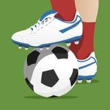 Footballer stepping on the ball in a soccer match. Vector illustration stock illustration