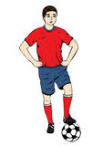 Footballer, vector hand drawing. Football player in a red blue uniform with a ball. Isolated on white background. Vector Royalty Free Stock Photo