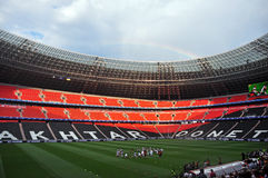 Footballers FC Shakhtar on a Donbass-Arena stadium Royalty Free Stock Image