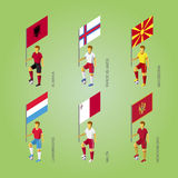 Footballers with flags: Macedonia, Montenegro, Albania, Luxembou Stock Images