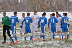 Footballers greet each other before the match Royalty Free Stock Image