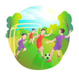 Footballers playing outdoors. Football field, players and ball. Goalkeeper at the gate. Royalty Free Stock Photography