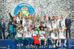 Footballers Real Madrid celebrate victory. KYIV, UKRAINE – 26 MAY, 2018: Footballers Real Madrid celebrate victory during the final match UEFA Champions royalty free stock photography