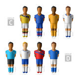 Footballers, soccer players. Brazil 2014. Footballers, soccer players. Brazil 2014, Group C and D Stock Photos