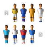 Footballers, soccer players. Brazil 2014. Footballers, soccer players. Brazil 2014, Group C and D vector illustration