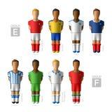 Footballers, soccer players. Brazil 2014. Footballers, soccer players. Brazil 2014, Group E and F royalty free illustration