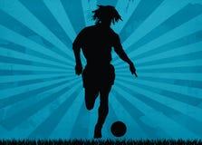 footballersilhouette Royaltyfri Bild