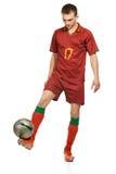 Footballeur avec la bille Image libre de droits