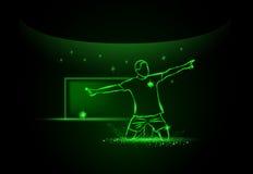 Footballeur avec la bille célébration d'un but, style au néon Image stock