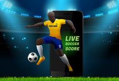 Footballeur avec le fond de stade de champ et mobile vivant Photo libre de droits