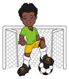 Footballeur d'Afro et porte vide Photographie stock libre de droits