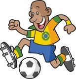 Footballeur de bande dessinée du Brésil illustration de vecteur