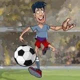 Footballeur masculin de bande dessinée fonctionnant avec une boule à travers le champ illustration stock
