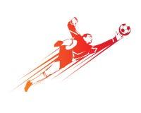 Footballeur moderne dans le logo d'action - économies par le gardien de but illustration de vecteur