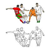 Footballeur tirant un griffonnage de croquis d'illustration de vecteur de but Photos stock