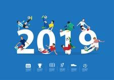 Footballeurs de vecteur pendant la nouvelle année d'action le 2019 Photo libre de droits