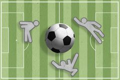 Footballeurs et graphisme de bille de football Image libre de droits