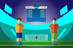 Footballeurs sur le stade de football Images libres de droits