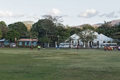 Footballing young people on the football field of Playas de Coco on the Pacific coast of Costa Rica Royalty Free Stock Images