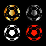 Footballs on black background Royalty Free Stock Photography