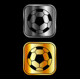 Footballs on black background Royalty Free Stock Images