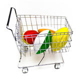 Footballs in Cart. Four foam footballs in a small metal shopping cart on white background royalty free stock image