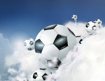 Footballs in the clouds illustration Royalty Free Stock Image