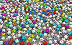 Footballs Color. Footballs many color filling screen, 3d illustration, horizontal, over white Royalty Free Stock Photography