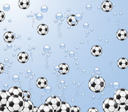 Footballs fall in water. Illustration of background with footballs and bubbles under water Stock Image