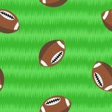 Footballs on field seamless pattern Stock Photography