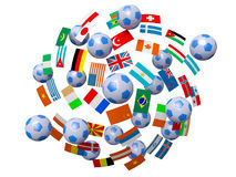Footballs and flags Stock Image