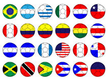 Footballs with Flags of the Americas Royalty Free Stock Photo