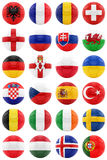 Footballs with flags. 3D rendering of footballs with flags,  on white Stock Photos
