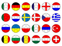 Footballs with Flags of Europe Royalty Free Stock Images