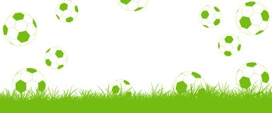 Footballs fly on lawn, Goal! Stock Images