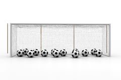 Footballs in a goal court Stock Image