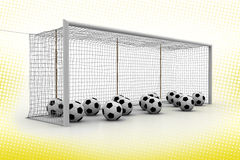 Footballs and goal court in Halftone Background Royalty Free Stock Photos