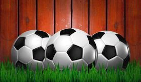 Footballs on green grass Royalty Free Stock Photos